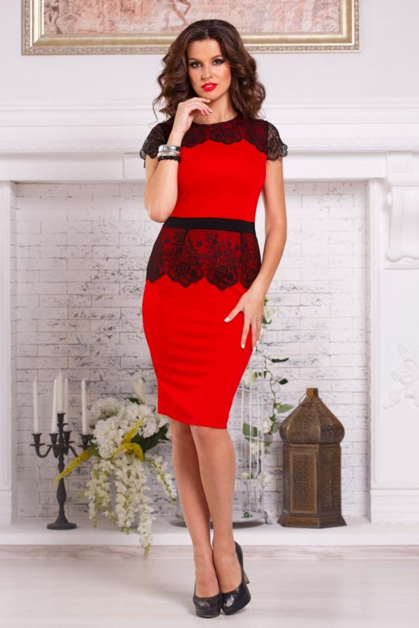 Коктейльное платье красное с черным